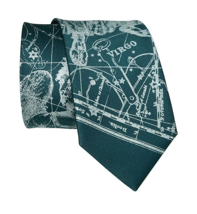 Star Map August birthday gift Zodiac Constellation Astronomy gifts Virgo Tie September Horoscope gift silk necktie Virgo birthday