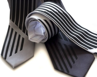 Mod silkscreen necktie. Broken black stripe tie. Choose standard, narrow or skinny width microfiber.