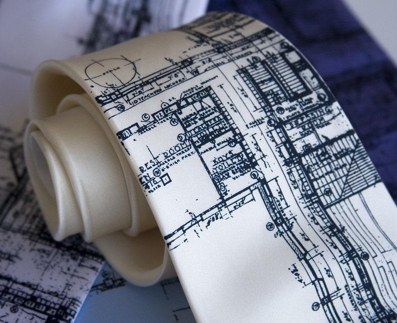 Detroit Blueprint necktie. Architect gift mens silk tie. Cass cream narrow