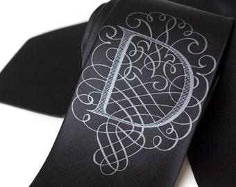 "Custom initial silk necktie. Personalized ""AlphabeTIES"" silkscreened monogram letter necktie. Filigree font. Choose A-Z."