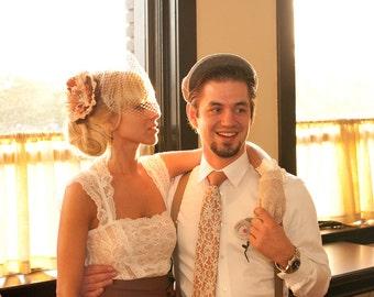 Boudoir Lace necktie. Silkscreen tie, ivory-cream print. Choose standard, narrow or skinny size.
