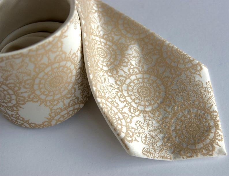 Lace Tie. Cottage Lace Doily Print silk tie in cream silk cream standard