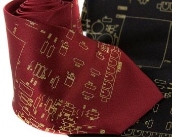 "Circuit board necktie, ""Resistor"" silkscreen design. Men's tie with gold print. Choose standard, narrow, skinny or XL."