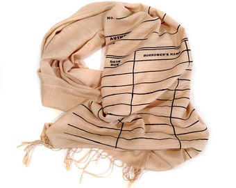 Library Date Due scarf. Book Scarf. Gift for librarian, writer, bookworm, book lover, expectant mother or father. Linen-weave pashmina.