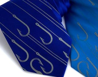 """Fishing necktie. Fish hook men's tie. """"Playing Hooky"""" blue silk necktie. Silkscreened dove gray print."""