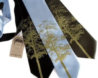 Mountain Aspen necktie. Tree silhouette tie, moss green print. Screenprinted microfiber. Choose standard or narrow width.