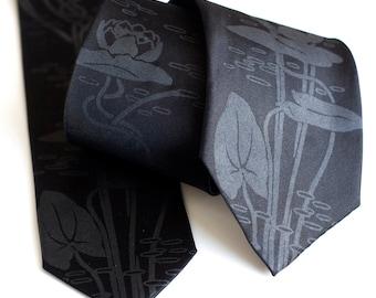 Black Lotus tie. Screenprinted microfiber necktie. Choose standard or narrow size.