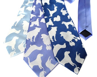 """Tumbling Dogs tie. """"Putting on the Dog."""" Mens silkscreened silk necktie. Choose standard or narrow width. Your choice of colors."""