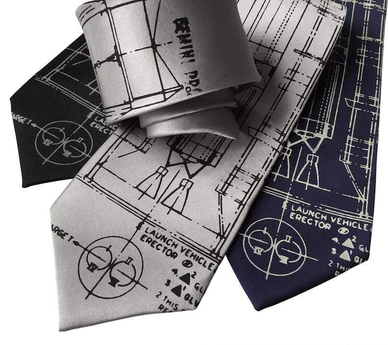 Project Gemini Necktie Astronaut Tie Nasa Rocket Spacecraft Etsy