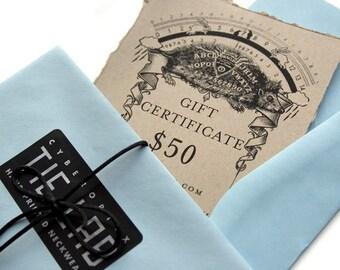 50 dollar gift certificate, Gift card for Cyberoptix neckties or scarves.