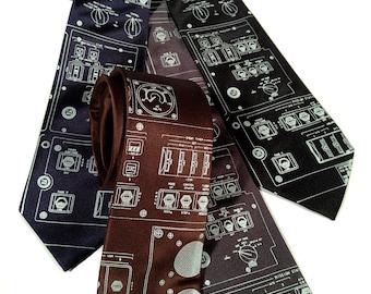 """Space Shuttle Console men's necktie. """"Rocket Science"""" tie. Ice blue screenprint. Choose standard, narrow or skinny."""