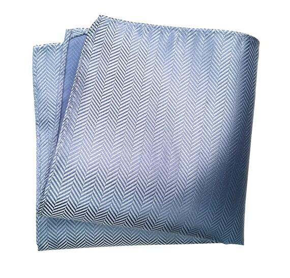 Powder Blue Silk Pocket Square. Elegant woven herringbone pocket silk. Brilliant silvery, light blue shift in the light! Men's silk hanky.