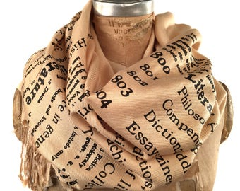 Literary Scarf. Library Scarf Literature Scarf Present for Reader Dewey Decimal Literature book scarf linen-weave pashmina. Librarian gift