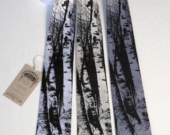 Birch Trees tie. Silkscreen design, men's silk necktie. Choose standard or narrow size.