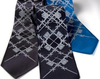 "C-130 Necktie. Airplane tie. ""Wingman"" silkscreened necktie. Aviation argyle design. Pale grey print. Choose standard or narrow."