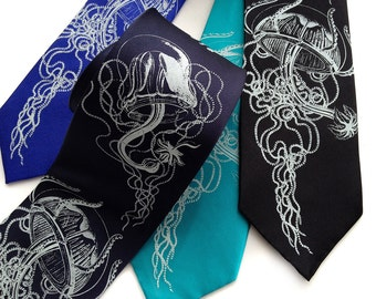 Jellyfish necktie. Silkscreen men's tie. Your choice of color and width. Vintage nautical illustration.