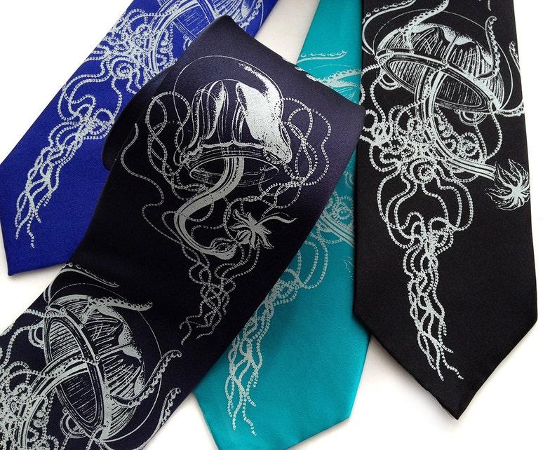 deb2433defc2 Jellyfish Necktie Sea Life Silkscreen men's tie Historic | Etsy
