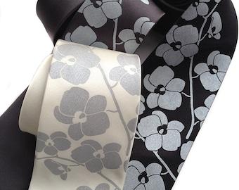 Orchid Flower men's necktie. Silkscreen floral tie. Silver print on cream & more. Choose standard, narrow, skinny or XL.