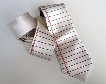 Notebook Paper Necktie. English teacher gift, creative writing teacher gift, gift for author. College Ruled tie, Wide Ruled lined paper