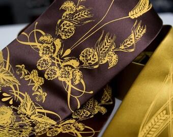 Beer silk necktie. Hops, barley and wheat men's tie. Silkscreened mustard yellow ink.
