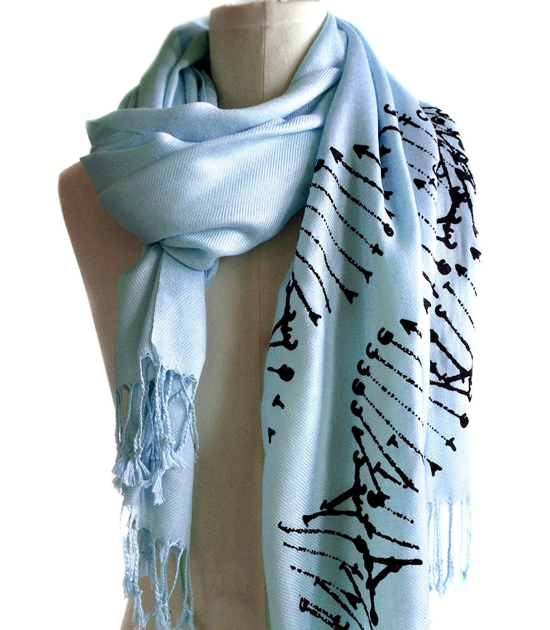 Science teacher medical student gift genetics cryptozoology fan. DNA double helix silkscreened soft pashmina DNA scarf