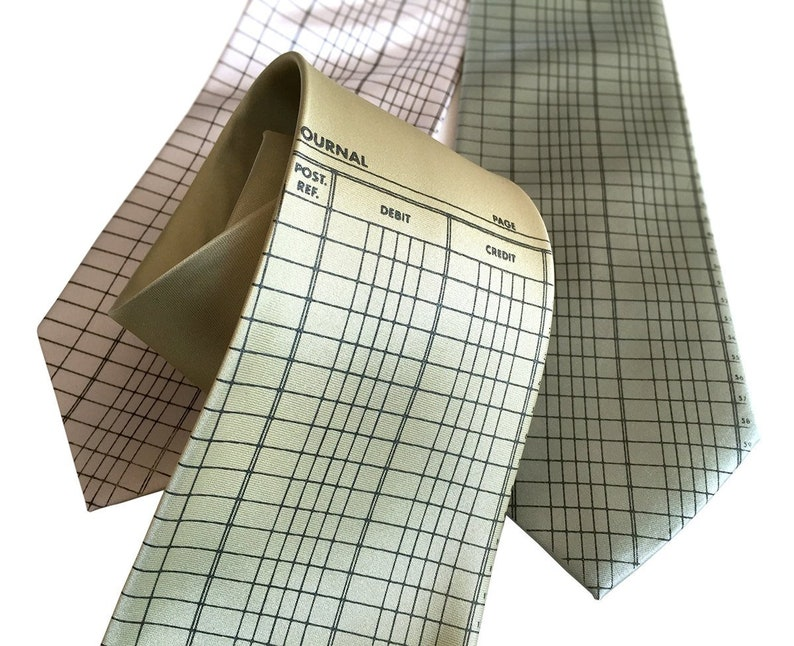 Accountant Necktie  Accounting gift, Ledger Paper silk tie  Bookkeeping  gift, CPA gift, economist, tax preparer gift, accountant gift