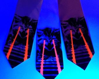Raving Laser Kitten tie. Cat lovers black light reactive screen-printed silk necktie. Two color print. Red glow lasers.