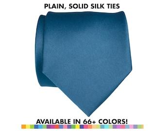 Plain Silk Tie, solid color tie. Mens silk necktie, ties for groom & groomsmen, wedding party ties that match. Satin wedding necktie for him