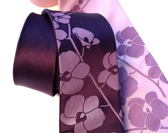 Orchid Branch silk necktie. Radiant orchid silkscreen men's tie. Choose standard or narrow where available.