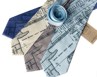 Detroit map tie. Marina District & Detroit River. Silkscreened nautical necktie, cobalt print. Silk. Choose standard or narrow.