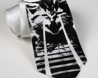 Angry Laser Kitten screen printed cat silk necktie - Silkscreened kitty tie. OMG cats. Black ink.