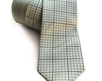 Green graph paper necktie. Engineering grid paper tie. Silkscreened men's tie. Math teacher, engineer gift. More colors available!