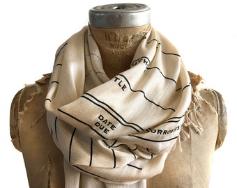 Library Book Scarf. Library Date Due luxe scarf, parchment & more. Literary gift. Bookish, bookworm, librarian, author gift, teacher gift.
