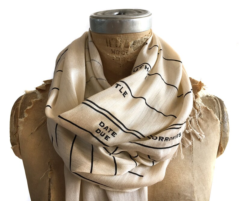 Library Book Scarf. Library Date Due luxe scarf parchment & image 0