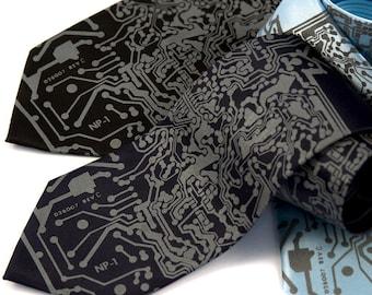 "Circuit board necktie, ""Short Circuit."" Silkscreened mens tie. Choose standard, narrow or skinny. Dove gray ink."