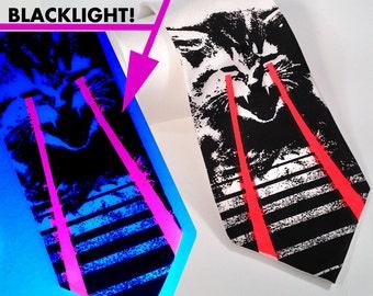 Raving Laser Kitten necktie. LOL cat black light reactive, screen-printed microfiber tie. Red glow lasers.