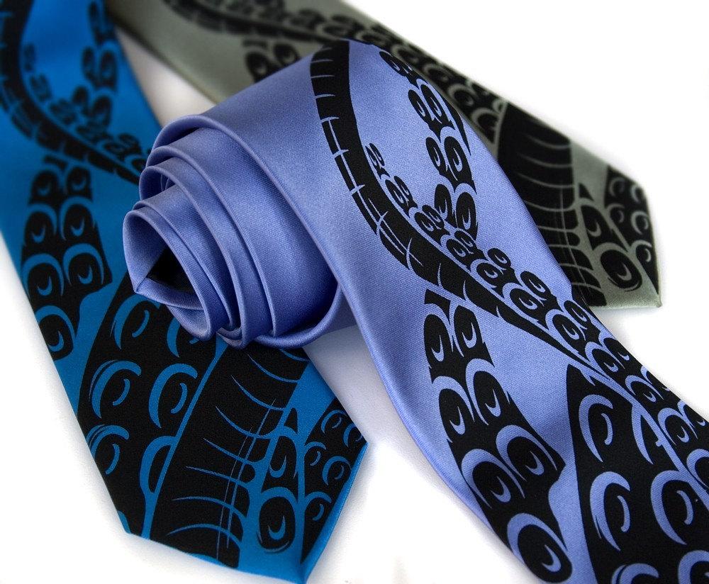 8445a90a84b7 Octopus Print Tie. Squid Necktie. Sucker tentacles. Men's | Etsy
