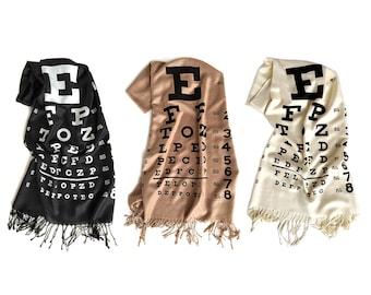 Eye Chart scarf. Bamboo pashmina, silkscreen print. Black, cream, sandy beige scarf. Optometry, Optometrist gift, optician, eye doctor gift