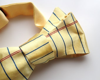 Legal Pad bow tie. Yellow lined paper bow tie. Perfect lawyer, legal defense, judge, law student or attorney gift. By Cyberoptix Tie Lab.