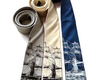 Sailing ship necktie. Herringbone woven silk tie. Clipper ship silkscreen print. Choose sapphire blue tie, silver tie & more!