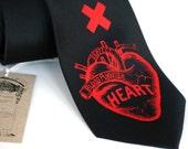 Heart Attack screenprinted necktie, red ink on black silk