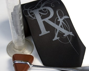 Rx Prescription necktie. (Fancy edition) Choose standard or narrow microfiber.