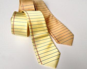 Legal Pad Necktie. Notebook paper tie, lined paper print. Silkscreen print design. Lawyer, attorney, judge, law school or teacher gift.