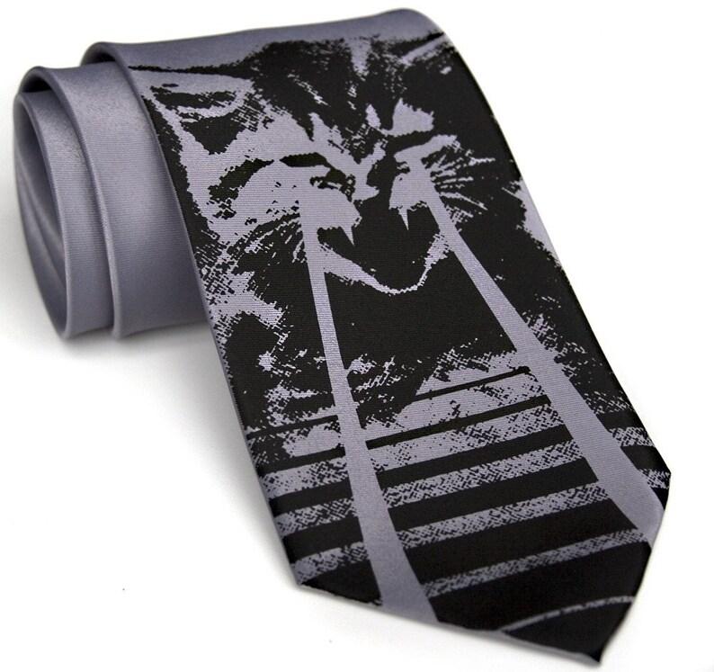 1e6fd068e02e Laser Cat Tie mens necktie. Kitten print tie. Cat dad gift | Etsy