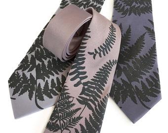 Fern leaf necktie. Screenprinted botanical print men's tie. Pale grey or black pearl screenprint. Choose standard or narrow microfiber tie.