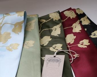 Men's silkscreen necktie, Poppy, metallic gold screen printed microfiber tie. Choose standard or narrow.
