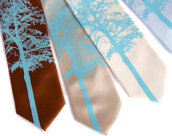 "Tree silhouette tie. ""Mountain Aspen"" necktie. Sky blue print. Silkscreened microfiber. Choose standard or narrow width."