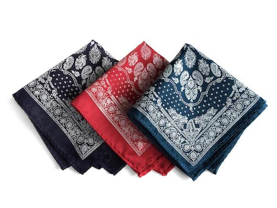 Hankie Pocket Square Handkerchief Black with Navy Blue Paisley
