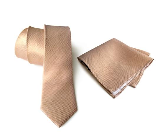 "Pale copper linen necktie. Tan woven silk & linen blend men's tie. ""Vernors"" rustic wedding necktie. Pocket squares available too!"