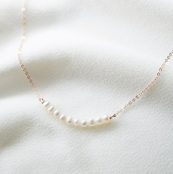 Tiny Pearls on sterling silver necklace Gift for her  Handmade Jewellery  June Birth stone Grace